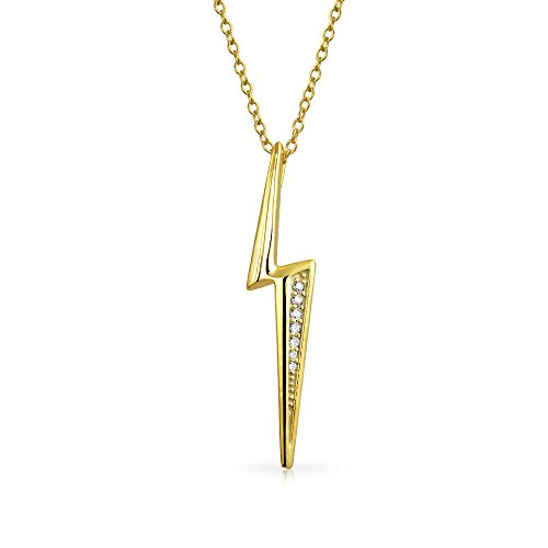 (Minimalist Geometric Pave CZ Zig Zag Lightning Bolt Pendant Necklace For Women For Teen 14K Gold Plated Sterling Silver)