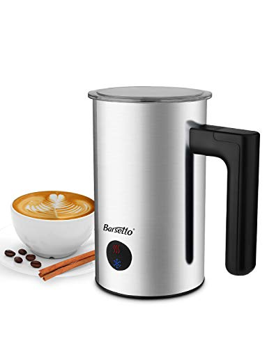 Milk Frother Barsetto Automatic Milk Steamer with Silent Operation Electric Frother with Warm and Cold Milk Function for Coffee Cappuccino Latte and Breakfast