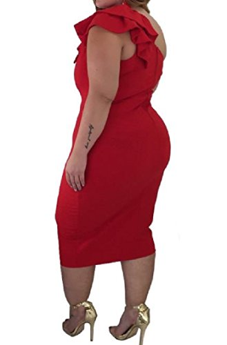 Coolred-femmes Sexy Carrière Silm Une Étape Une Épaule Robe De Soirée Rouge Au Large Ébouriffé