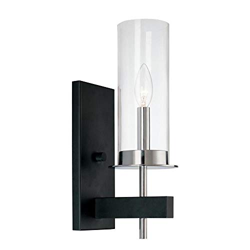 Sonneman 4060.54, Tuxedo Tall Glass Wall Sconce Lighting, 1 Light LED, Chrome/Black