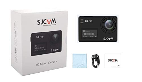 SJCAM SJ8 Pro 4k Action Camera 60fps Water Resistant,OLED Large Ultra Full HD Touchscreen,EIS Stabilized,Dual Screen,1200mAh High Capacity Battery 5G WiFi (Black- Small Package)