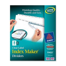 Avery - Index Maker White Dividers for Copiers, Five-Tab, Letter, Clear, Five Sets/Pack - Pack of (Avery Dennison Index Maker Copier)