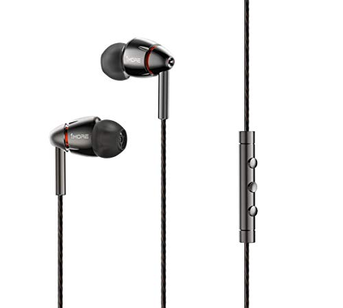 1MORE Quad Driver in-Ear Earphones Hi-Res High Fidelity Headphones Warm Bass, Spacious Reproduction, High Resolution, Mic in-Line Remote Smartphones/PC/Tablet - Silver/Gray (Best Value For Money Earphones)