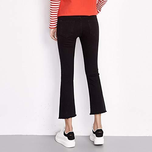 Micro Dessinée De Nouvelle Plus Taille Flare M Longueur Broderie Femmes Mi Femme Rlwfjxh Noir Cheville Maigre Printemps Bande Jeans Arrivée EwCxaq0zq