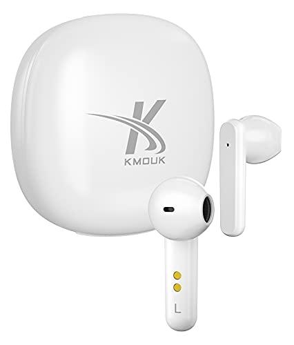 True Wireless Earbuds, KMOUK Bluetooth 5.2 Earbuds with 4-Mic CVC8.0 Call Noise Reduction, IPX8 Waterproof Earphones…