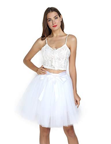Women's High Waist Princess Tulle Skirt Adult Dance Petticoat A-line Wedding Party Tutu -