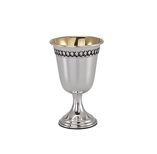 Hazorfim Filigree Stem Silver Kiddush Cup Sterling silver 925 kiddush cup saucer plate wine shabbat Shabbos bar mitzva wedding gift handmade Israel Judaica - Filigree Kiddush Cup