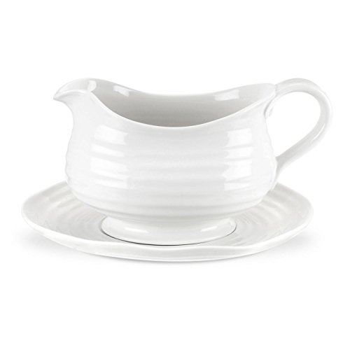 Portmeirion Sophie Conran White Gravy Boat and Stand (Boat White Gravy)