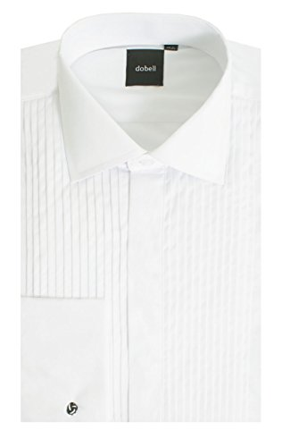 Dobell Mens White Tuxedo Shirt Regular Fit Laydown Collar Double Cuff Plain Fly Front-16.5
