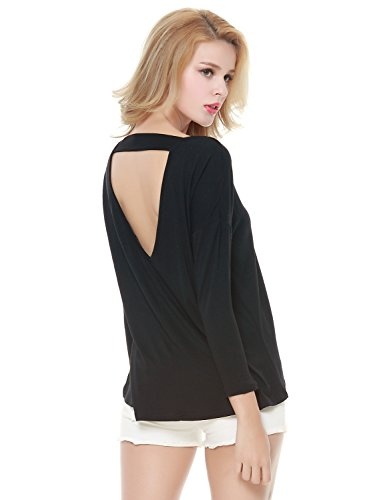 Choies Womens Sleeve Backless T shirt