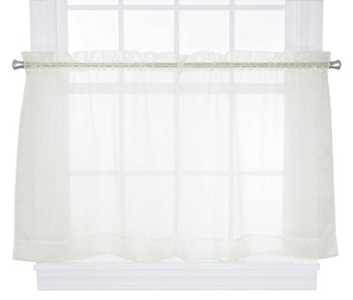 Ellis Curtain Jessica Sheer Tailored Tier Curtains, 54 by 30-Inch, Ivory Tailored Sheer