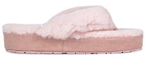 Women's Comfy BLIZ 02 PAIRS Fluffy Pink Slippers DREAM Fur Mules Sheepskin xgwqZq05H