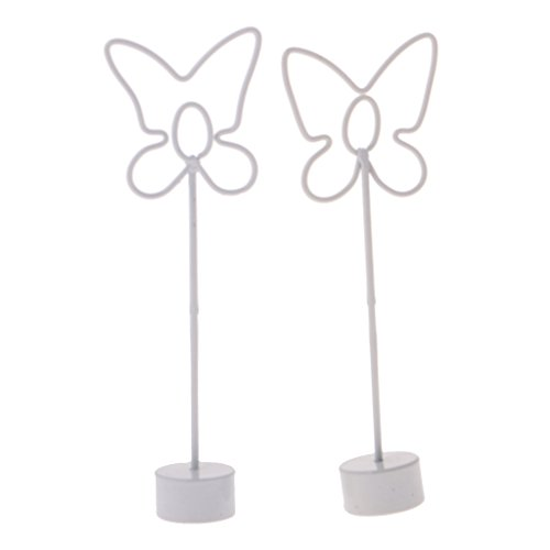 Jili Online 2pcs Metal Cute Snail Place Card Holder Memo Photo Name Clips Table Decor - Butterfly, 12.5 x 2cm (Butterfly Memo Clip)