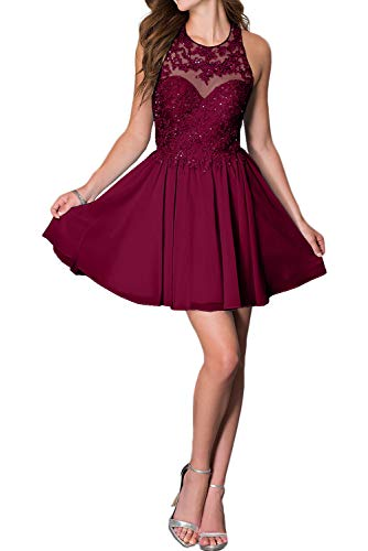 Short Homecoming Dress, Halter Mini Lace Appliques Crossed Straps Cocktail Party Dress-Dark Red-8