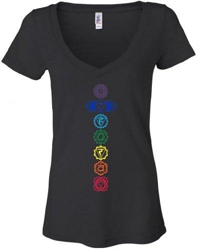 Yoga Clothing For You Ladies Colored Chakras Burnout V-neck Tee Shirt Medium Black