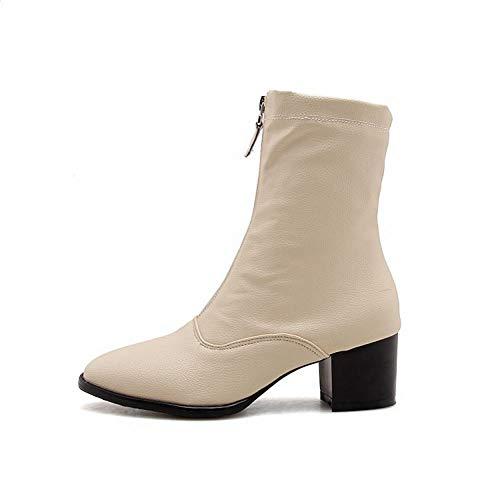 Block Short Heel Chic Shoes Boots Apricot Women's Zip Mee zASIqg