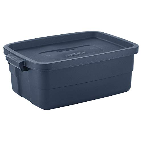 Rubbermaid Roughneck️ Storage Tote 10 Gal Pack of 8 Rugged, Reusable, Stackable, Container, Dark Indigo Blue (Boxes Storage Rubbermaid Plastic)