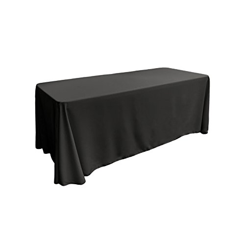 LA Linen Polyester Poplin Rectangular Tablecloth, 90 by 156-Inch, Black