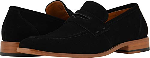 STACY ADAMS Men's Colfax Moc-Toe Slip-On Penny Loafer, Black Suede 10.5 M US (Moc Penny)