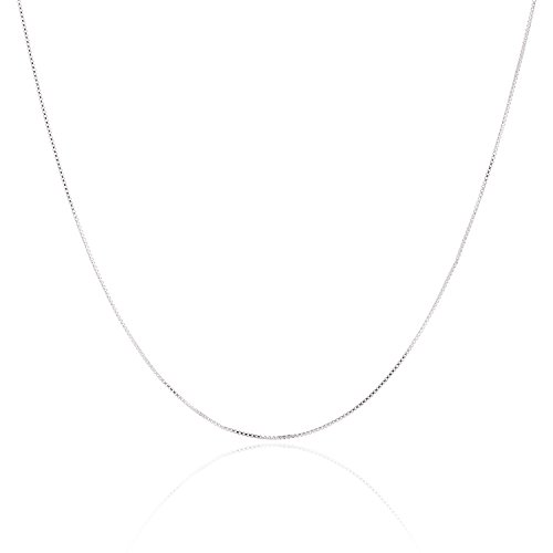 925 Sterling Silver .8MM Box Chain - Nickel Free Italian Crafted Necklace for Women 100% - Excellent Quality Super Thin Lightweight but Strong - Best on Amazon - Spring Ring Clasp 16 Inch (16