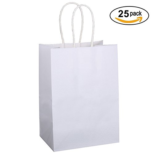 "BagDream Kraft Paper Bags 25Pcs 5.25""x3.25""x8"",Paper Shopping Bag, Kraft Bags, White Bags with Handles, Gift Bags, Party Bags 100% Recyclable Paper"