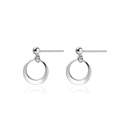 - Minimalist Circle Hoop Ball Stud Earrings 925 Sterling Silver Loops Dangle Studs Post for Women Teen Girls
