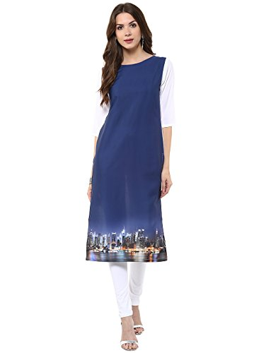Janasya-Womens-Navy-Blue-Casual-Crepe-Kurti