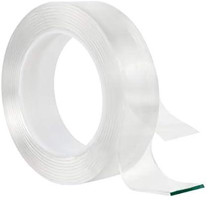 Cinta de Doble Cara Multifuncional Cinta Adhesiva de Doble Cara Nano Tape Reutilizable Transparente Traceless Grip Tape para Pared,Cocina,Alfombra,Fijación de Fotos 9.8FT 16.4FT