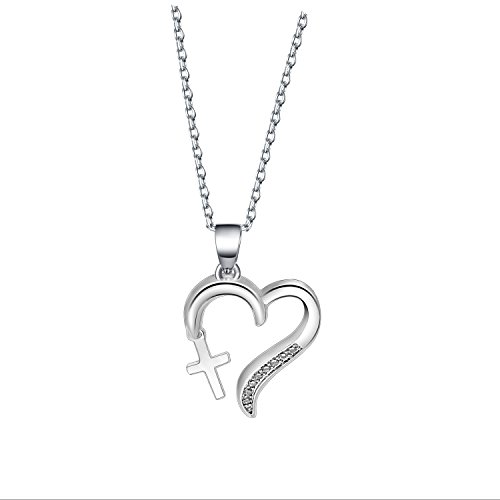 QIIER Dainty Love of God Heart Necklace with Dangling Cross Girls First Communion Gift Baptism Gift (Silver) (1st Communion Religious Pendant)