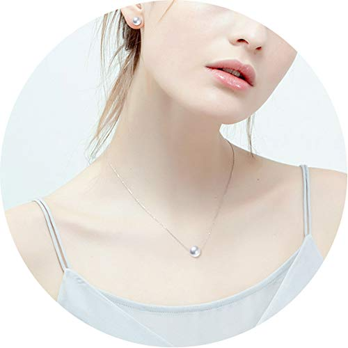 Sterling Silver Single Pearl Choker Necklace for Women Girls 8mm Freshwater Cultured Pearls Wedding Bridesmaid Anniversary Gifts Birthstone Jewelry