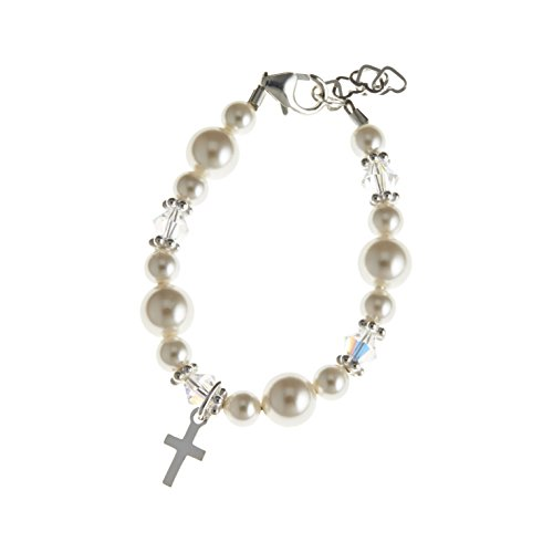 Crystal Dream Communion Swarovski White Simulated Pearls and Crystals Sterling Silver Cross Charm Bracelet 1 Inch Extender Girl Keepsake Gift (BCRSS_M…