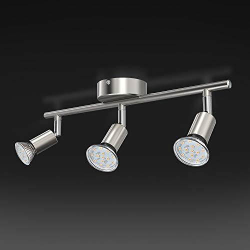 Uchrolls Lámpara de techo LED giratoria, 3 llamas, incluido 3 x 3.5W iluminante GU10 LED, 380LM, blanco cálido, lámpara…