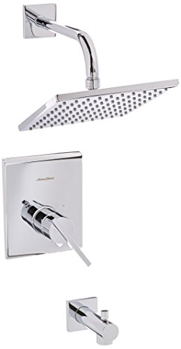 American Standard T184502.002 T184.502.002 Polished Chrome Times Square Tub and Shower Trim Package with Single Function Rain Shower - Square People With Heads