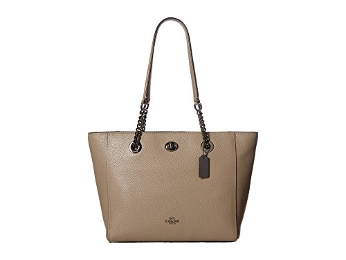 Coach Turnlock Leather Chain Tote