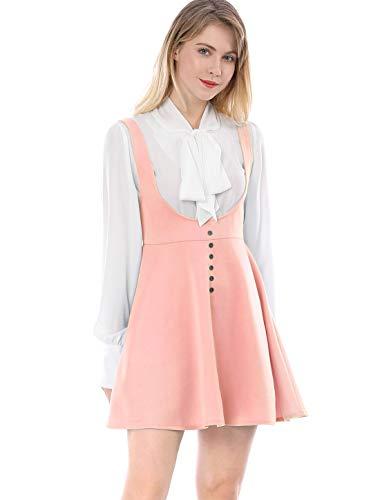 Allegra K Women's Solid Button Decor Flared Hem Overall Dress Suspender Skirt M Pink ()