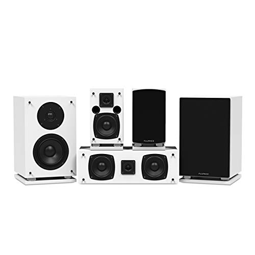 Fluance Elite Series Compact Surround Sound Home Theater 5.0 Channel Speaker System Including Two-Way Bookshelf, Center Channel, and Rear Surround Speakers - White (SX50WHC) ()