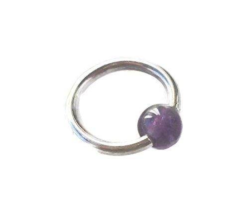 Captive Amethyst Gemstone Bead Septum,Upper Ear Daith Rook,Tragus,Cartilage Hoop Earring,Nose Ring,Eyebrow Piercing,925 Sterling Silver 16G-8mm ()