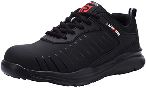 LARNMERN Mens Steel Toe Work Shoes,LM-23 Safety Shoes Lightweight Breathable Casual Protection Footwear (8 D(M) US, Dark Black)