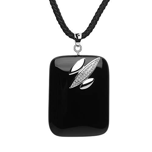 iSTONE Unisex Genuine Gemstone Stone Black Agate Semi Precious Stone Pendant Necklace for Men - Precious Stone Semi Pendant Necklace