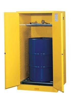 896260 - Cabinet, Manual Yellow Flammable Vertical Drum Sure-Grip Ex, 55 Gallon - Safety Cabinets, Justrite - Each