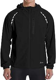 Men's Waterproof Cycling Rain Jackets Lightweight Hooded Packable Reflective Windproof Windbreaker Bike Runnin