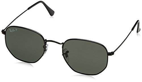 Ray-Ban Men's Hexagonal Polarized Square Sunglasses, Black, 51 - Sunglasses Ban Hexagonal Ray