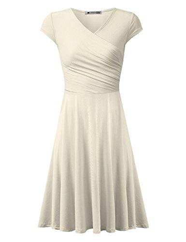 URBANCLEO Womens Cap Sleeve V Neck T-shirt Tunic Mini Dress IVORY 4XLARGE