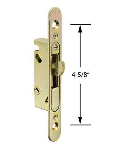 "FPL #3-45-S Sliding Glass Door Replacement Mortise Lock with Adapter Plate, 4-5/8"" Screw Holes, 45 Degree Keyway- YZD Plating"