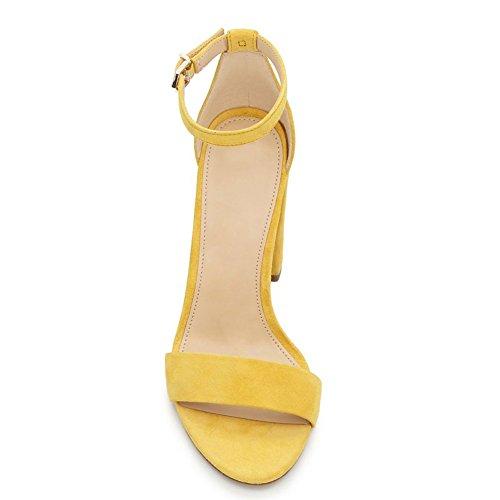 Damen Open Toe Samt Sommer Sandalen High-Heels Blockabsatz Knöchelriemchen Samt-Gelb