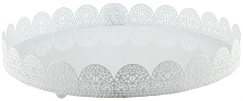 White Metal Cake Stand - Lace Design Perfect for Wedding, Quincenera, Scaraments, Baby Shower Desserts - 11.75-Inch Cakes