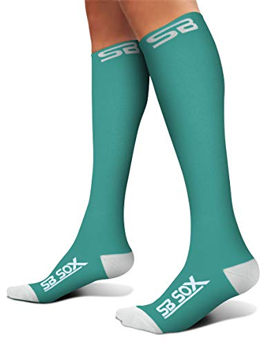 - SB SOX Compression Socks (20-30mmHg) for Men & Women - Best Stockings for Running, Medical, Athletic, Edema, Diabetic, Varicose Veins, Travel, Pregnancy, Shin Splints (Green/White, Medium)