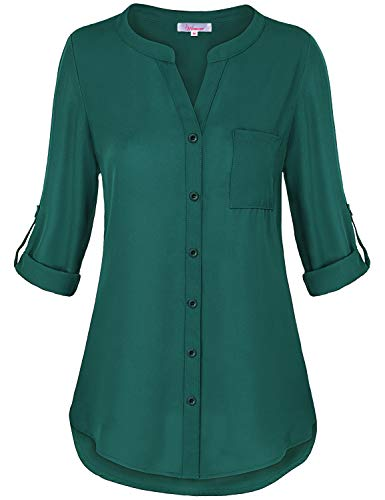 Misswor Hi Low Tops for Women, Juniors Clothing Cute V Neck Solid Color Blouse Half Cuffed Sleeve Tunic Shirt Button-up Casual Flowing Chiffon Round Hem Autumn Loft Clothing Dark Green L