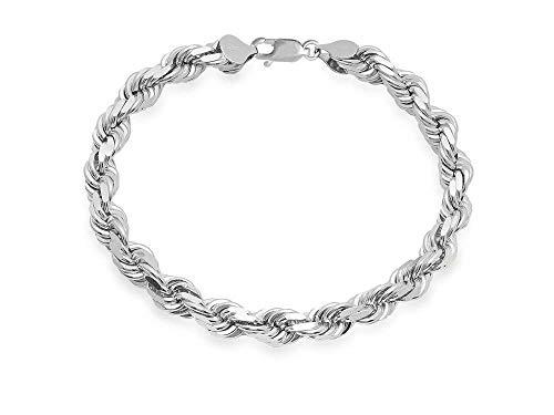 (Mens Italian 925 Sterling Silver Damond Cut Rope Chain Necklace, 5MM, 6MM, 7.5MM,8.5MM- Mens Rope Chain, Sterling Silver Rope Chain Necklace For Men, Mens Rope Chain Bracelet)