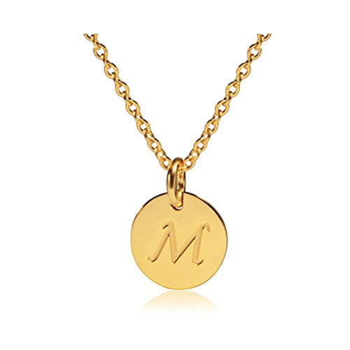 Three Keys Jewelry M Initial Gold Girls Tiny Tag Circle Stainless Steel Charm Disk Daughter Engraved Necklace for Women